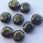 Koraliki Czech Glass Beads 10x9 mm Jet/Antique Gold 2 szt.