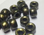 Koraliki Czech Glass Beads 9mm Jet/Antique Gold10 szt.