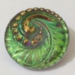 Guzik szklany 27mm fantazy Emerald/Antic Gold