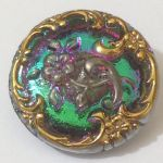 Guzik szklany 22,5mm floral Violet/Emerald/Antic Gold