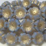 Koraliki Czech Glass Beads Hawaii Flower 14 mm matte lt. blue/bronze