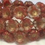 Koraliki Czech Glass Beads Hawaii Flower 14 mm matte red wine /old patina