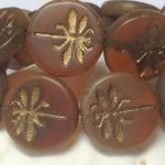 Koraliki Czech Glass Beads  Dragonfly 23mm matte/old patina