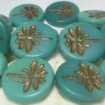 Koraliki Czech Glass Beads  Dragonfly 23mm matte turquoise /old patina