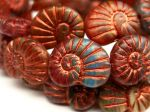 Koraliki Czech Glass Beads  Snails muszla 17x13mm matte/capri