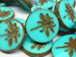 Koraliki Czech Glass Beads  Dragonfly 23mm Turquoise Picasso 1 szto