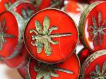 Koraliki Czech Glass Beads  Dragonfly 23mm Red Picasso