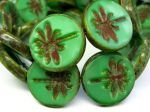 Koraliki Czech Glass Beads  Dragonfly 23mm Picasso Opal Green