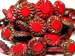 Koraliki Czech Glass Beads Sunflower 14mm picasso red
