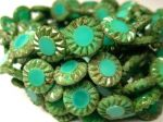 Koraliki Czech Glass Beads Sunflower 14mm picasso turquoise