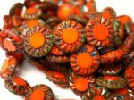 Koraliki Czech Glass Beads Sunflower 14mm picasso orange