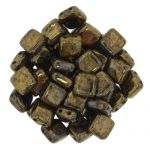 CzechMates Tile Bead 6mm Jet Bronze Picasso 20 szt.