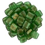 CzechMates Tile Bead 6mm Gold Marbled Green Emerald 20 szt.