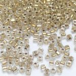 Preciosa Hexagon Bugle Gold Lined Crystal 1,7 mm - 10 gram