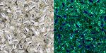 Toho Round 11/0 Glow In The Dark - Silver-Lined Crystal/Glow Green TR-11-PF2700S 10 gram