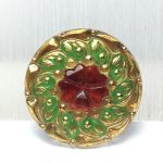Guzik szklany 22,5mm Floral green/red/gold - 1 szt
