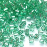 Preciosa Hexagon Bugle Silver Lined Green 2,25 mm - 10 gram