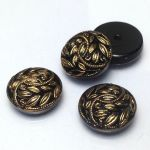 Guzik szklany 13,5mm Flower black/antic gold bez stopki 1 szt.