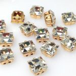 Preciosa Square w oprawie 8x8mm gold/crystal