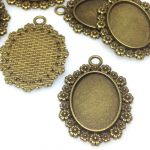 Baza zawieszki 41X29,5mm Oval (25X18mm) antique bronze /NICKEL FREE/ - 1 szt
