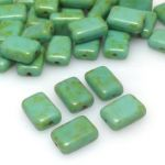 Koraliki Czech Glass Beads Table Cut Rectangles 12X8mm turquoise picasso