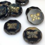 Koraliki 26x0,6mm Glass Beads Butterfly black beige - 1 szt