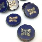 Koraliki 26x0,6mm Glass Beads Butterfly montana blue - 1 szt