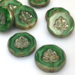 Koraliki Czech Glass Beads Leaves 24mm