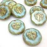 Koraliki 24x06mm Czech Glass Beads Leaves silk blue  - szt