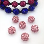 Kula shamballa 10mm z kryształkami LIGHT ROSE polimer clay - 1 szt