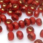 Fire Polish Rondelle 9x6mm matte red/bronze