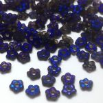Flower Beads 5mm Crystal Etched Azuro Full  - 10 szt