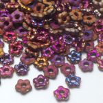 Flower Beads 5mm Crystal Etched Sliperit Full  - 10 szt