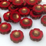 Koraliki Czech Glass Beads Hawaii 14 mm Red/Antic Bronze
