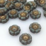 Koraliki  Glass Beads Hawaii 12mm Matte Old Blue/Grey/Antic Patina