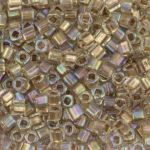 Toho Cube 3mm Gold-Lined Rainbow Crystal TC-03-994 10 gram