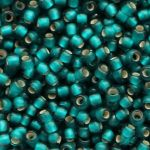 Toho Round 11/0 Silver Lined Frosted Teal TR-11-27BDF 10 gram