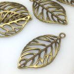 Zawieszka Leaf 51x27,5x3mm antique bronze NICKEL FREE - 1 szt
