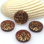 Guzik szklany 13,5 mm FLOWER red gold BEZ STOPKI -