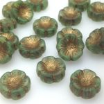Koraliki Czech Glass Beads Hawaii 14 mm Matte Green/Old Patina