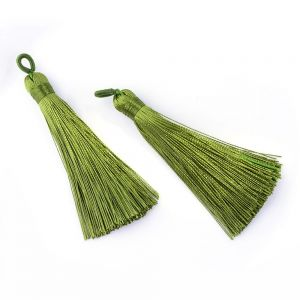 Tassel 80x20x11mm OLIVE DRAB - polyester  -1 pc