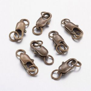 Karabinek 12mm z ogniwkami(18x6mm) antique bronze NICKEL FREE - 1 szt.