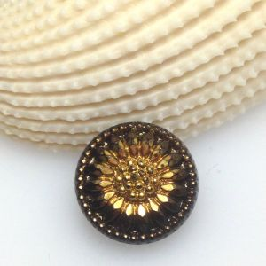 Guzik szklany 13,5 mm Flower black/gold - 1 szt