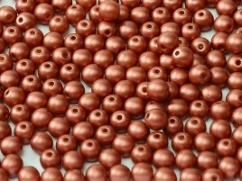 Round Beads 2 mm  Alabaster Metallic Red  50 szt