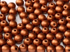 Round Beads 3 mm  Metallic  Copper   50 szt