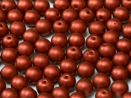 Round Beads 3 mm  Metallic Lava Red   50 szt