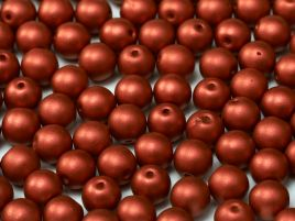 Round Beads 4 mm  Lava Red - 50 szt