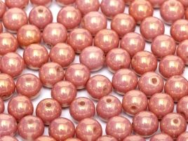 Round Beads 6 mm Chalk White Red Luster - 20 szt