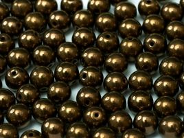 Round Beads 3 mm Metallic  Jet Bronze - 50 szt