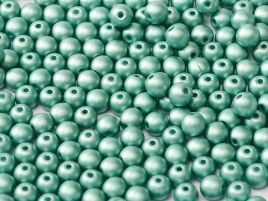 Round Beads 3 mm Alabaster Metallic Emerald - 50 szt